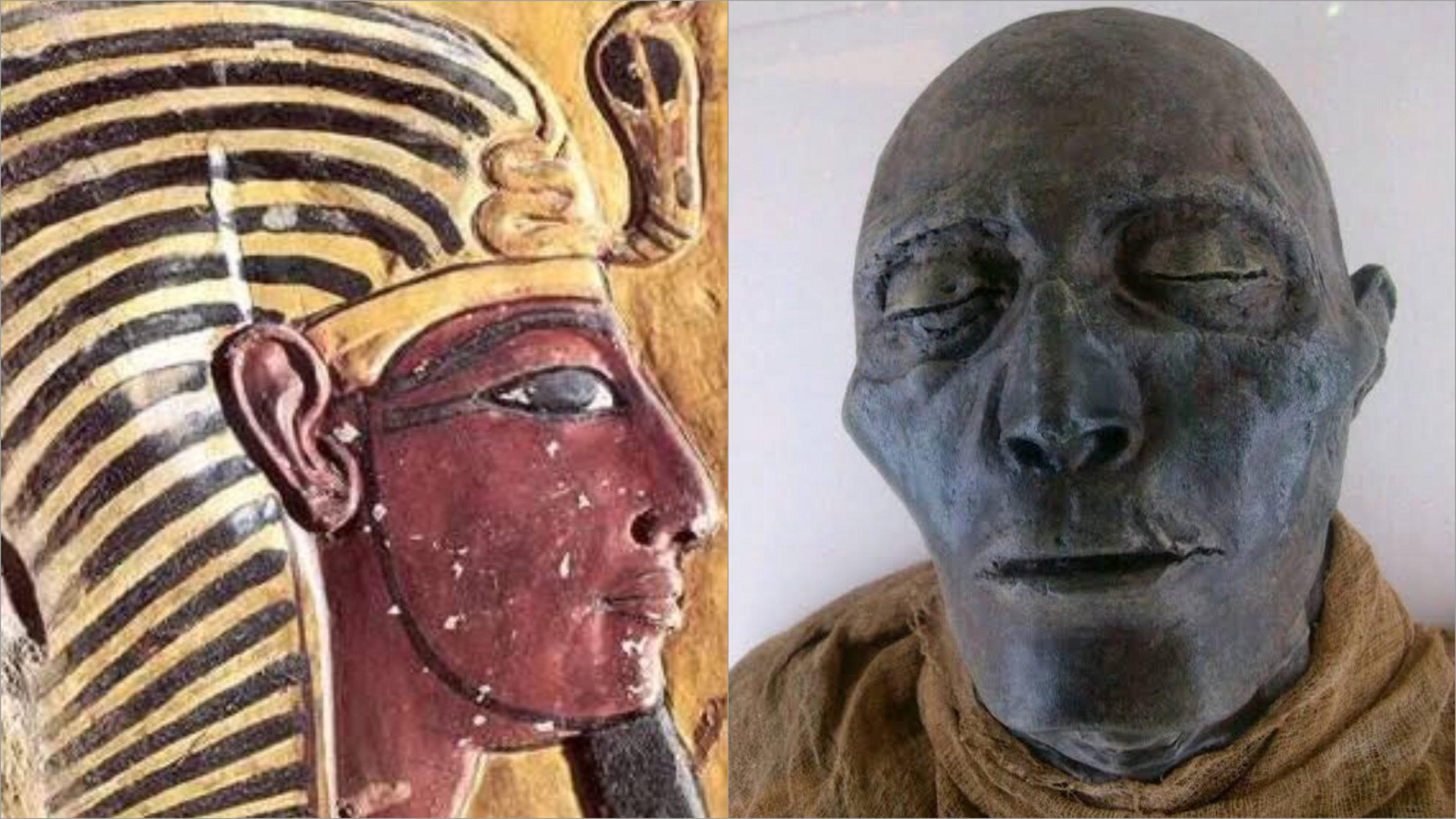 The 3298 years old mummified face of Pharaoh Seti I of Ancient Egypt (Kemet)
